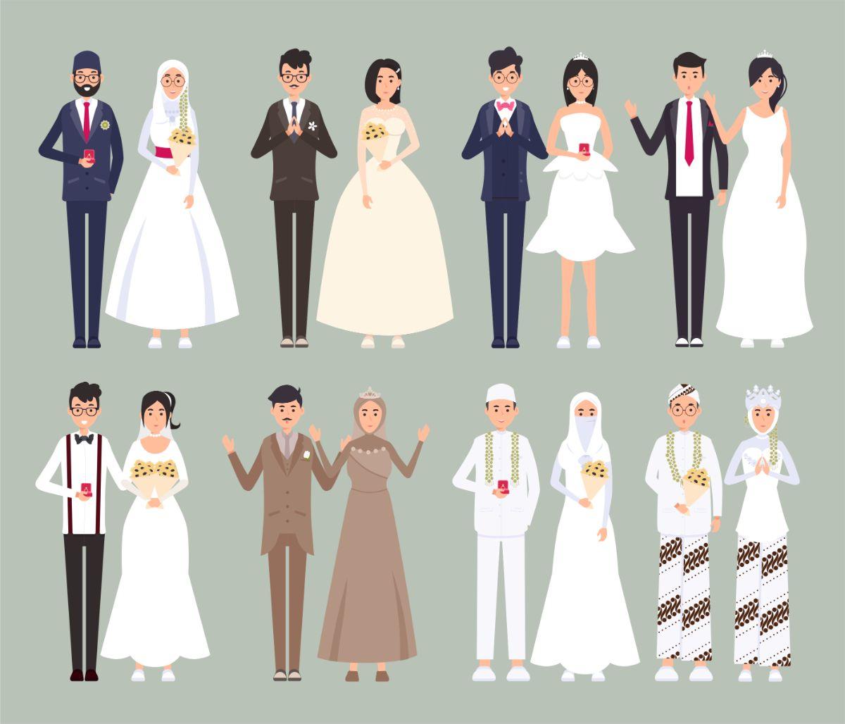 Karakter Kartun Wedding Formal